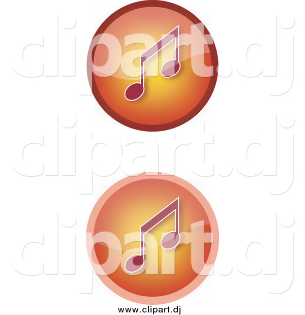 Vector Clipart of Gradient Orange Music Icons with Notes