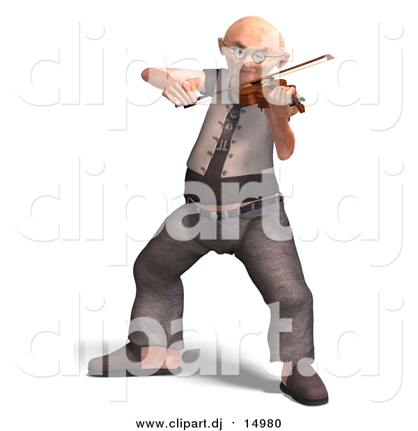 Vector Clipart of Grandpa Playing Violin: 3d Design