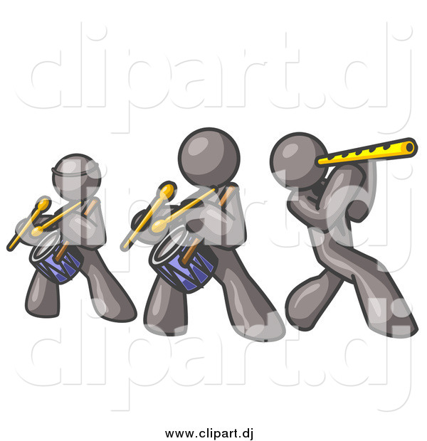 Vector Clipart of Gray Men Playing Flutes and Drums