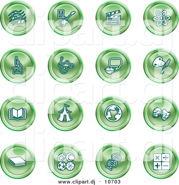 Vector Clipart of Green Icons of Music Notes, Guitar, Clapperboard, Atom, Microscope, Atoms, Messenger, Painting, Book, Circus Tent, Globe, Masks, Sports Balls, and Math
