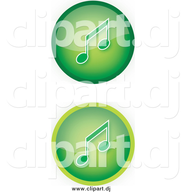 Vector Clipart of Green Music Icon Buttons with Music Notes