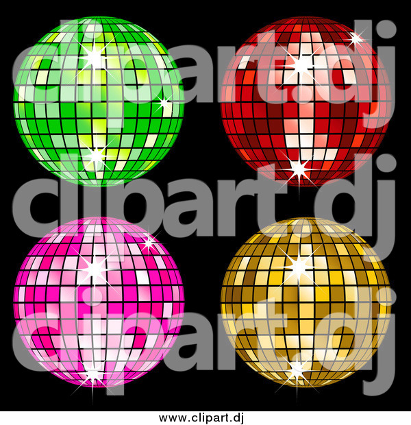 Vector Clipart of Green, Red, Pink and Yellow Disco Balls on Black