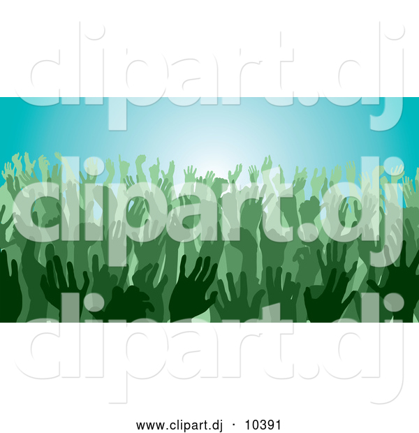 Vector Clipart of Green Silhouetted Hands in a Crowd