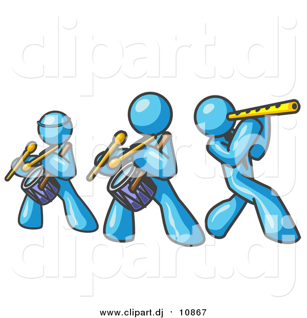 Vector Clipart of Light Blue Men Playing Flutes and Drums at a Music Concert