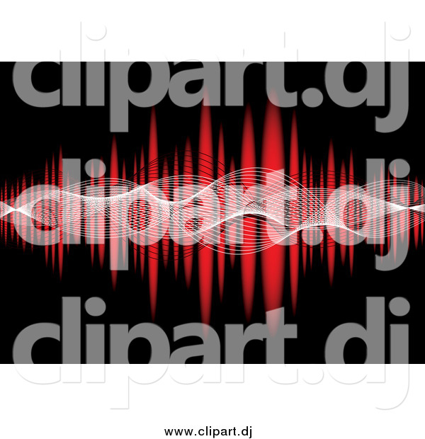 Vector Clipart of Mesh Waves Across a Red Equalizer on Black