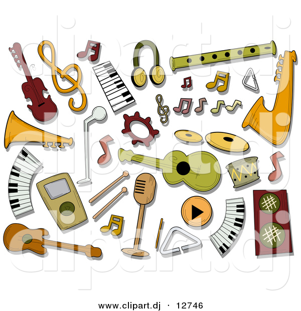 Vector Clipart of Music Instrument Icons - Digital Collage