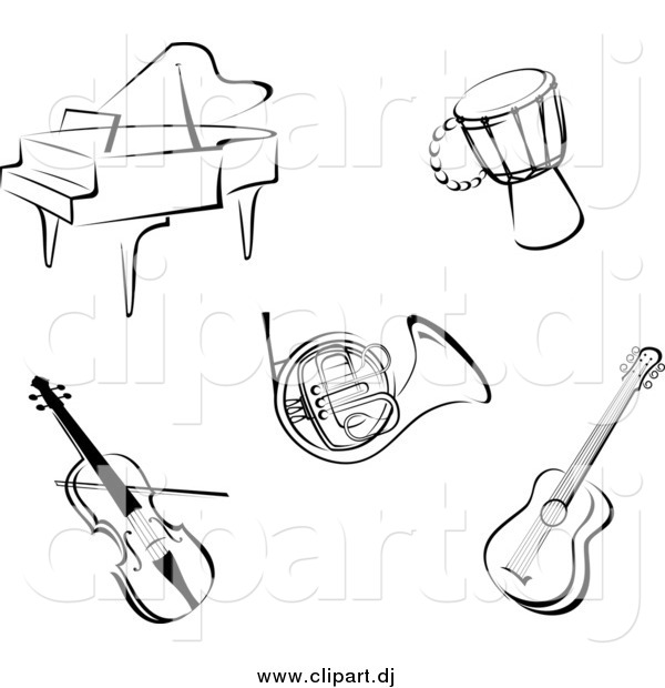 Vector Clipart of Music Instruments in Black and White