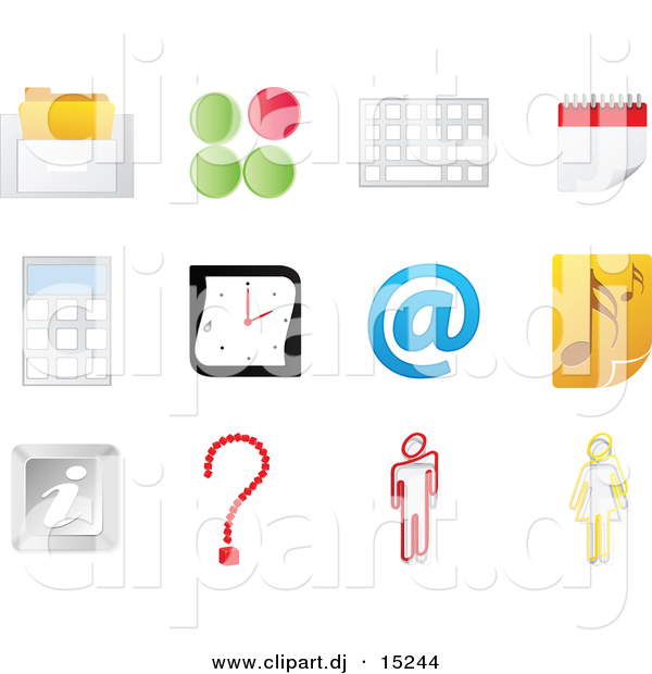 Vector Clipart of Music Note Icon Featured with 11 Office Related Website Icons