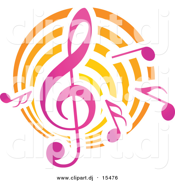 Vector Clipart of Music Notes and Clef