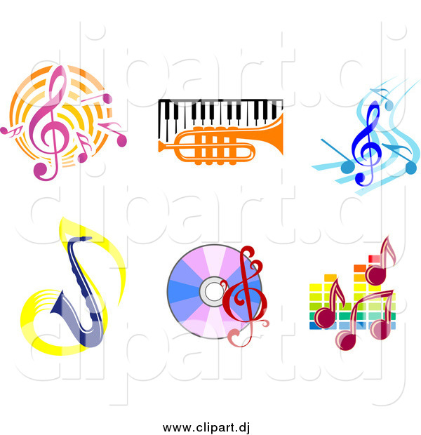Vector Clipart of Music Notes, Instruments, and CDs