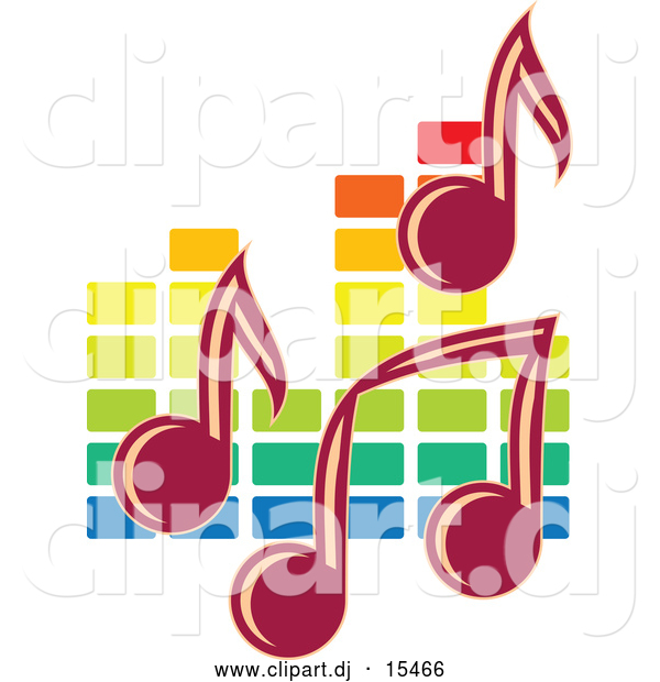 Vector Clipart of Music Notes over Colorful Equalizer Bars in the Background