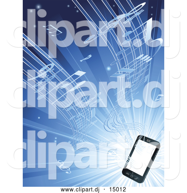 Vector Clipart of Music Streaming from a Smart Phone over Blue