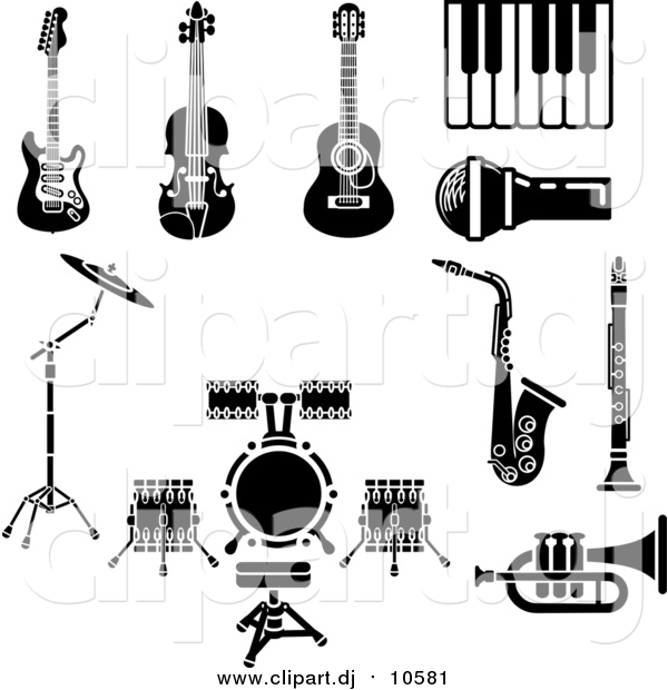 Vector Clipart of Musical Instruments and Items Including an Electric Guitar, Violin, Acoustic Guitar, Piano or Keyboard, Microphone, Saxophone, Clarinet, Drum Set and Trumpet