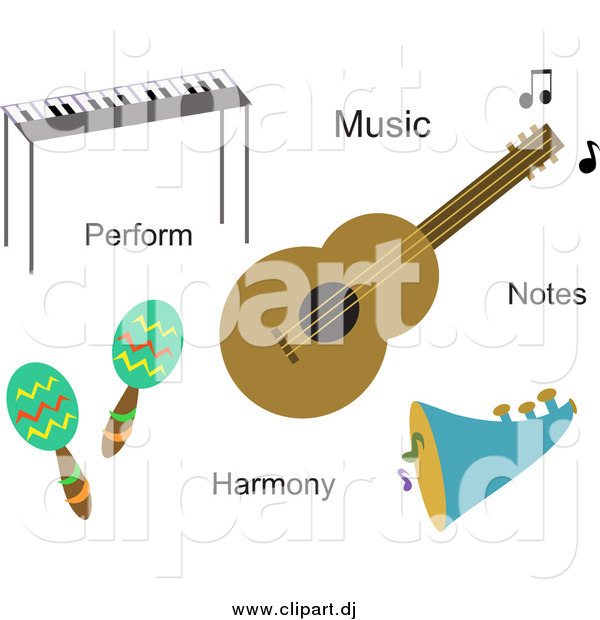 Vector Clipart of Musical Instruments and Words