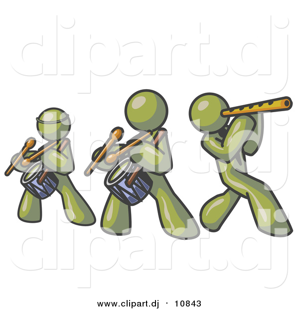 Vector Clipart of Olive Green Men Playing Flutes and Drums at a Music Concert