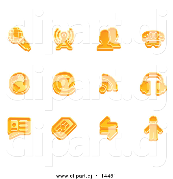 Vector Clipart of Orange Communication Icons