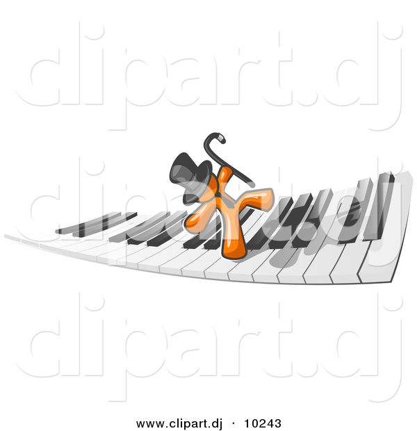 Vector Clipart of Orange Man Dancing on Piano Keyboard Keys
