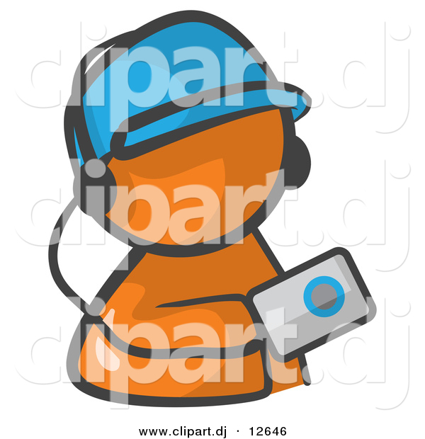 Vector Clipart of Orange Man Listening to Mp3 Music Player