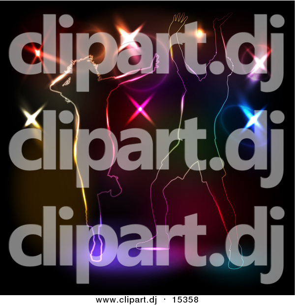 Vector Clipart of People Dancing Against Colorful Disco Lights on Black