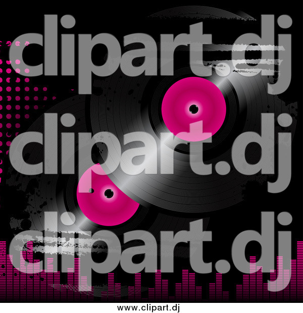 Vector Clipart of Pink and Black Vinyl Records on a Grunge Background with Dots and Equalizer Bars