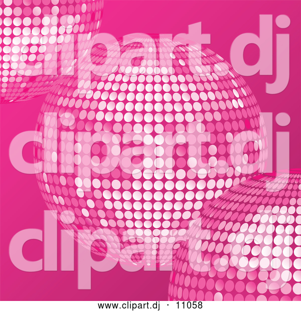 Vector Clipart of Pink Disco Balls over a Pink Background