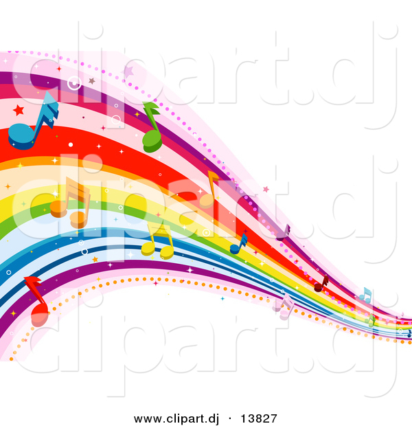 Vector Clipart of Rainbow Waves with Music Notes