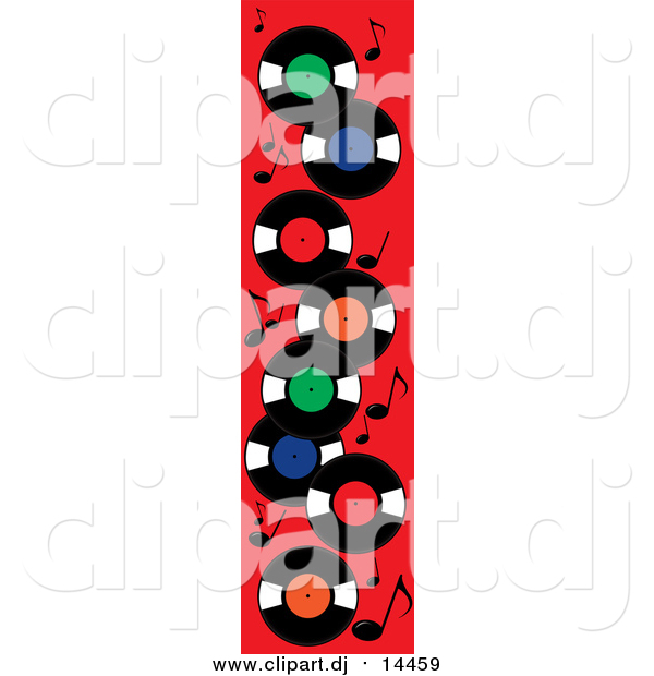 Vector Clipart of Record Albums and Music Notes on Red