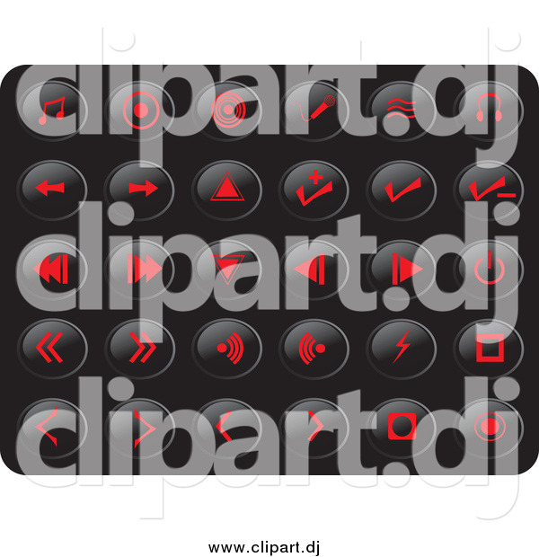 Vector Clipart of Red Media Button Icons on Black