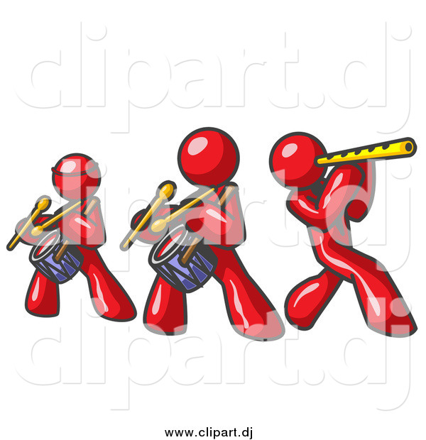Vector Clipart of Red Men Playing Flutes and Drums in a Band