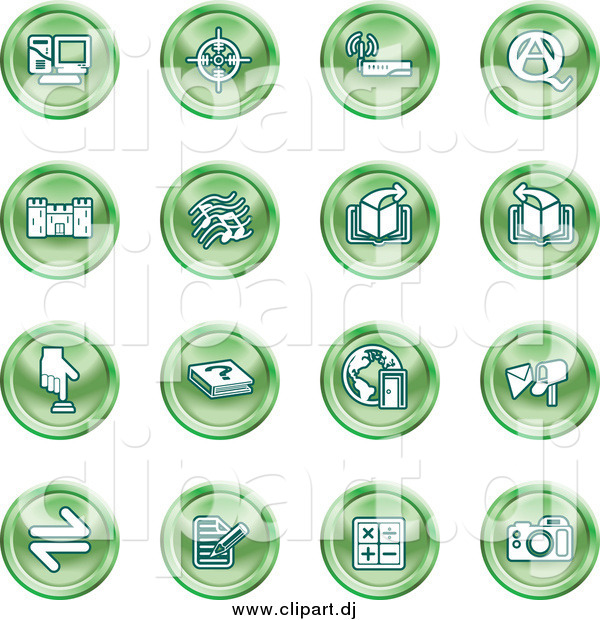 Vector Clipart of Round Green Computer and Music Icons