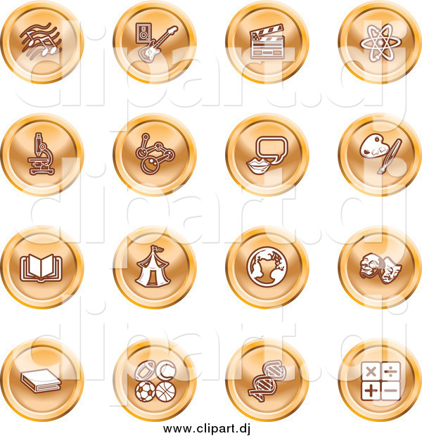 Vector Clipart of Round Orange Icons of Music Notes, Guitar, Clapperboard, Atom, Microscope, Atoms, Messenger, Painting, Book, Circus Tent, Globe, Masks, Sports Balls, and Math