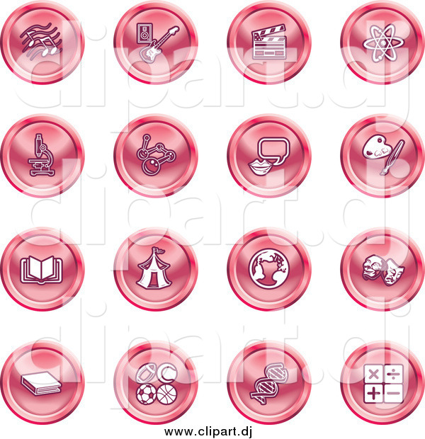 Vector Clipart of Round Pink Icons of Music Notes, Guitar, Clapperboard, Atom, Microscope, Atoms, Messenger, Painting, Book, Circus Tent, Globe, Masks, Sports Balls, and Math