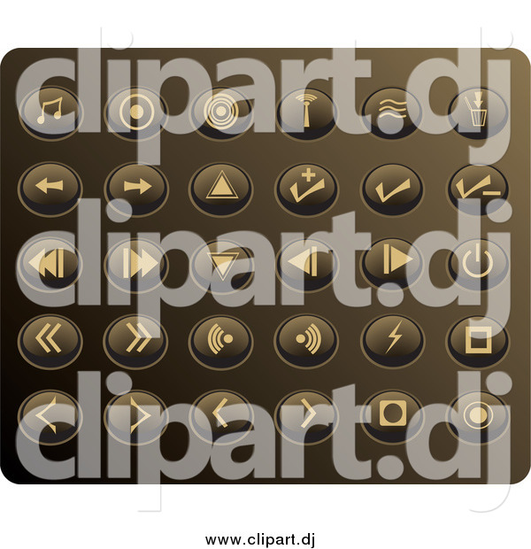 Vector Clipart of Round Tan Media Button Icons on a Gold Background
