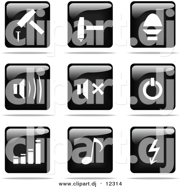 Vector Clipart of Shiny Black and White Square Hammer, Sound, Power, Graph, Music and Arrow Website Button Icons