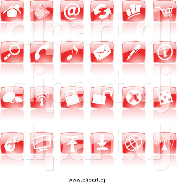 Vector Clipart of Shiny Red Square Website Icons