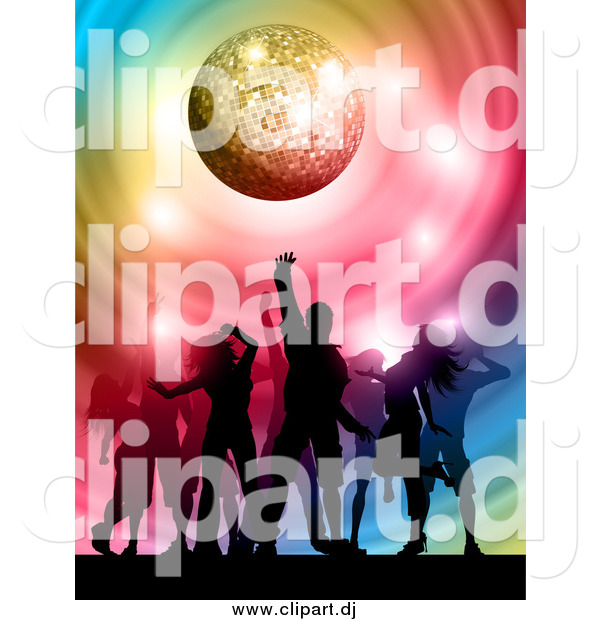 Vector Clipart of Silhouetted Dancers Under a Sparkly Disco Ball with Colorful Swirls