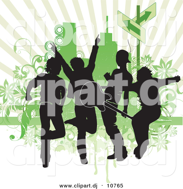 Vector Clipart of Silhouetted Guys in a Band, Rocking out and Playing a Guitar Against a Green Background