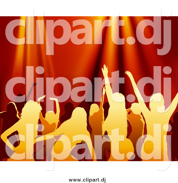 Vector Clipart of Silhouetted Women Dancing over Red Lights