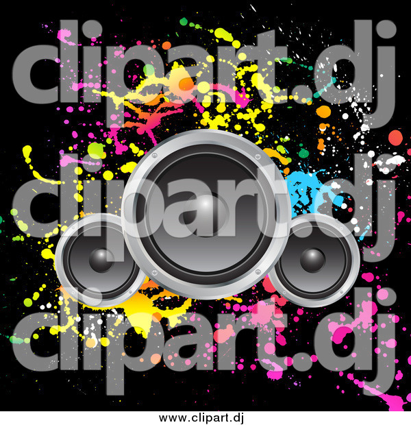 Vector Clipart of Speakers over a Black Background with Colorful Splatters