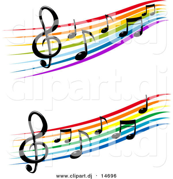 Vector Clipart of Staffs and Music Notes