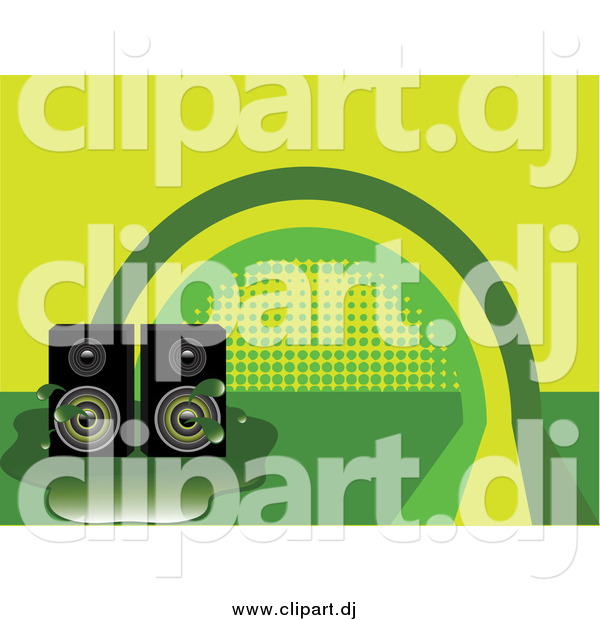 Vector Clipart of Stereo Speakers in a Puddle over a Green and Yellow Rainbow Background