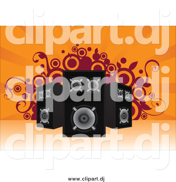Vector Clipart of Stereo Speakers Pointed in Different Directions over an Orange Background with Vines and Circles