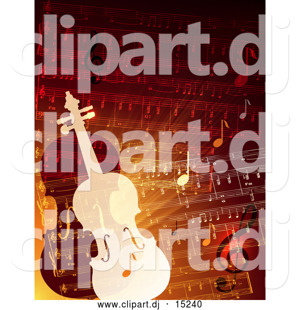 Vector Clipart of Two Violins over Sheet Music
