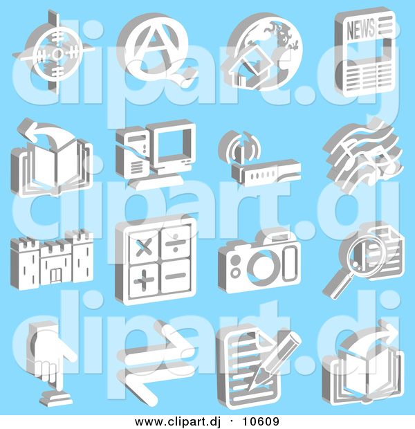 Vector Clipart of Viewfinder, Questions and Answers, Home and Globe, News, Book, Computer, Wireless Router, Music Notes, Castle, Math Symbols, Camera, Magnifying Glass, Button and Letter, over a Blue Background