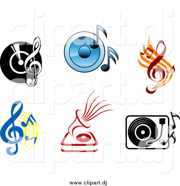 Vector Clipart of Viny Records with Radios, Players, Speakers and Music Notes