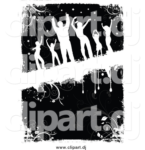 Vector Clipart of White Silhouetted Dancers over Black and White Floral Grunge