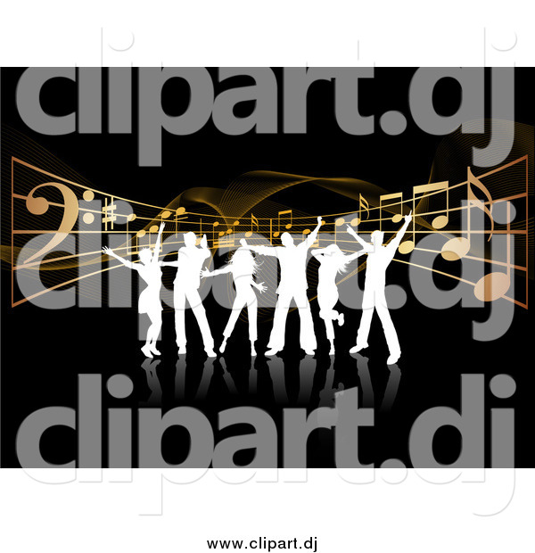 Vector Clipart of White Silhouetted Dancers over Music Notes and Waves on Black
