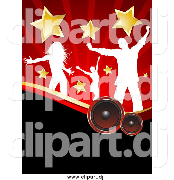 Vector Clipart of White Silhouetted Dancers with Stars, over Speakers and Red Rays