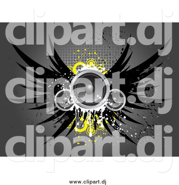 Vector Clipart of Winged Speakers with Yellow Circles, over a Gray Grungy Background with Dots