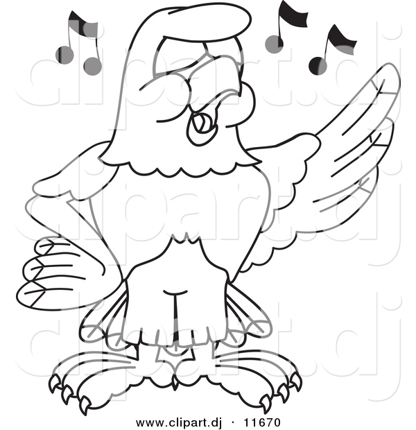 Vector of a Cartoon Falcon Singing - Coloring Page Outline
